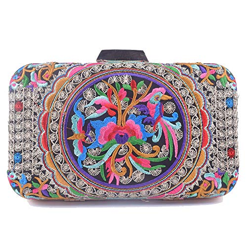 Women Peacock Embroidery Day Clutch Lady Floral Purse Totes Chain Patry Handbag Evening Bag (Coins 3)