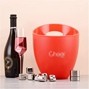 Insulated Wine Bucket Champagne Container Wine Chiller Double Wall Ice Bucket, Cooler Ice Beverage Tub For Party Barware Outdoor-red 21x21x25cm(8x8x10inch) 1226