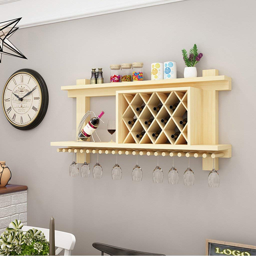 A 806023CM Red Wine Shelf Solid Wood Wine Rack Wall Hanging, Creative Wine Cooler, Simple Living Room in The Dining Room. Hanging The Wine Rack, Wine Wall Wine Cellar (color   B, Size   120  60  23CM)