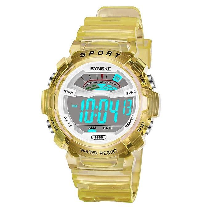 Bestow Ni?os Estudiante Impermeable a Prueba de Agua Luminosa Multifuncišn Reloj Electršnico Reloj Deportivo LED Pulsera Fecha Digital(Amarillo): Amazon.es: ...