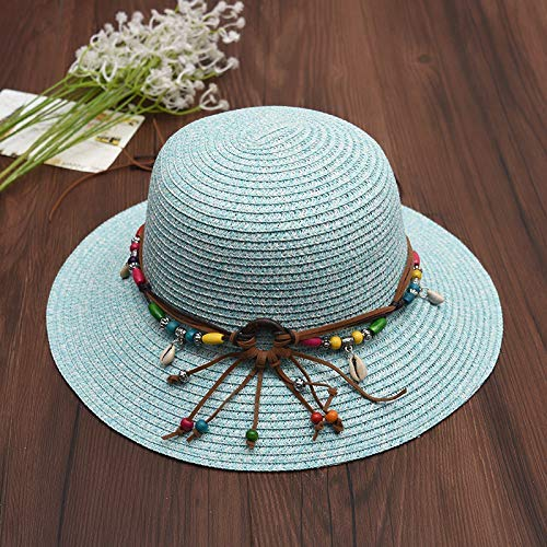 (GONGFF Bohemian Summer Beach Hats Women Leather Rope with Shell Beads Straw Sun Hats for Women Wide Brim Lace up Outdoor Caps Shade Hat blueBeach Hats Wide Brim Floppy Packable Adjustable )