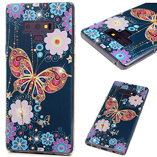 - Samsung Galaxy Note 9 Case, Mavis Diary Fashion Design Shiny Gemstone Rhinestone Colored Flowers and Kingdee Transparent Colorful Painted Shockproof Silicone TPU Rubber Cover Body Slim Cover