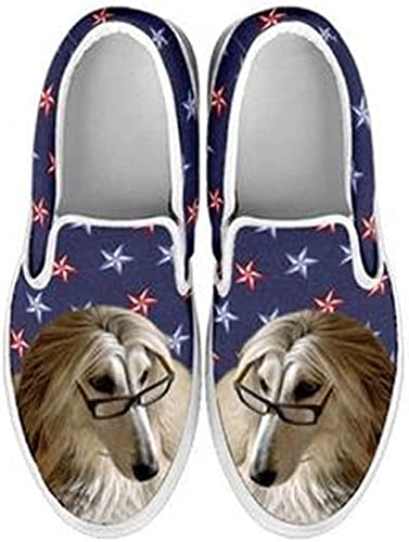 petkanvas Cute Afghan Hound Print Slip Ons Shoes for Women