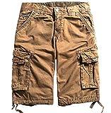Comfy-Men Oversized Fine Cotton Multi-Pockets Outdoor Cargo Shorts Coffee 35