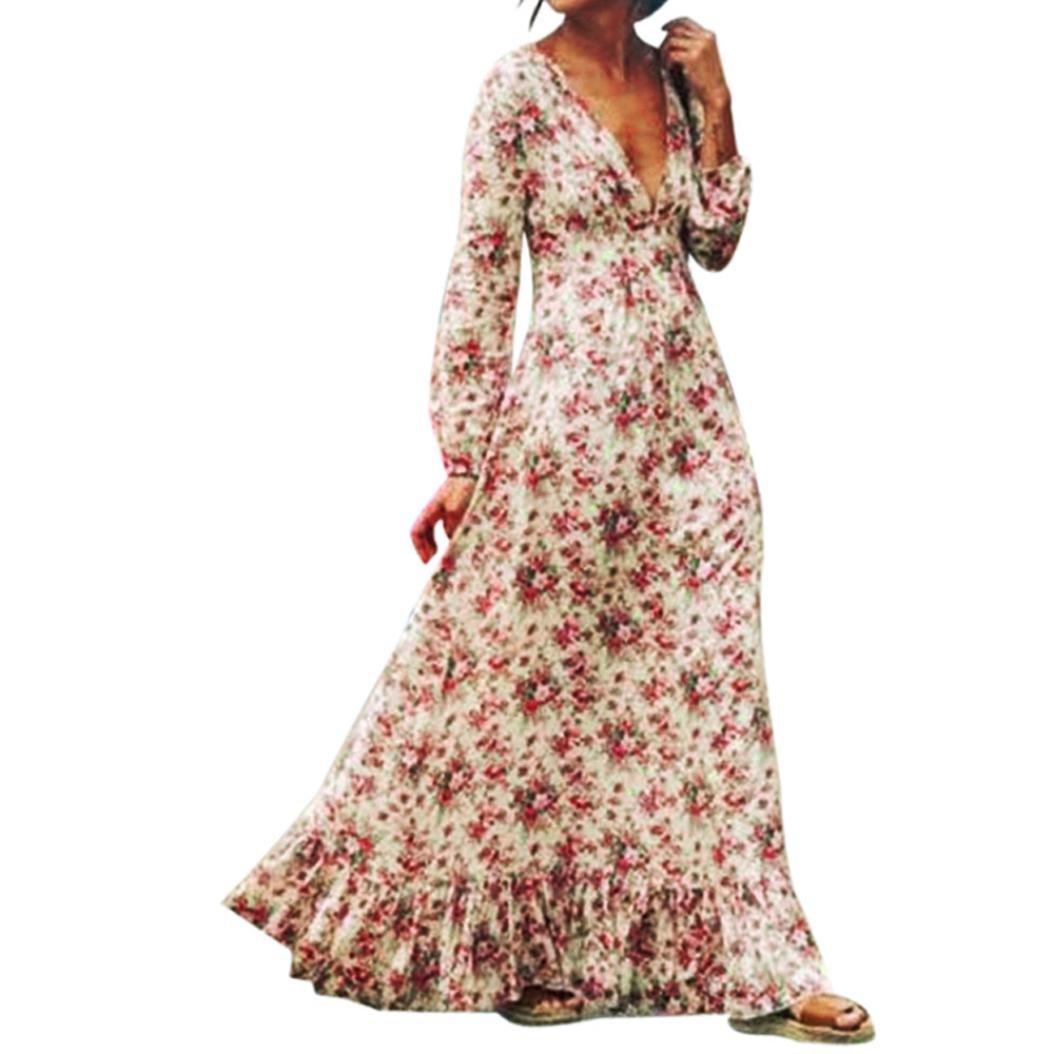 Vovotrade Women Retro Print Floral V-Neck Long Sleeve Evening Party Dress (XL, White)