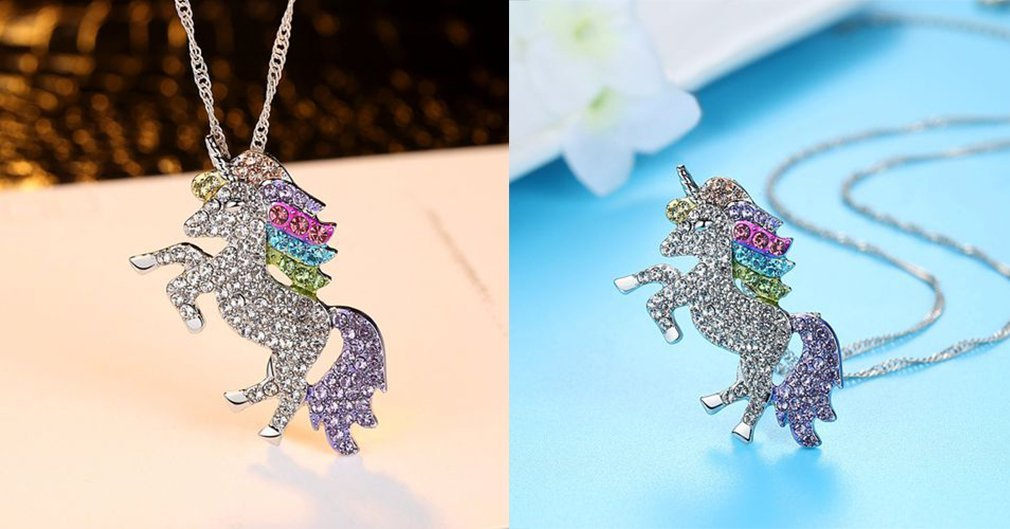Mcgreen Crystal Unicorn Pendant Necklace Little Princess Rainbow Animal Necklace Gift for Girl Ladies 4