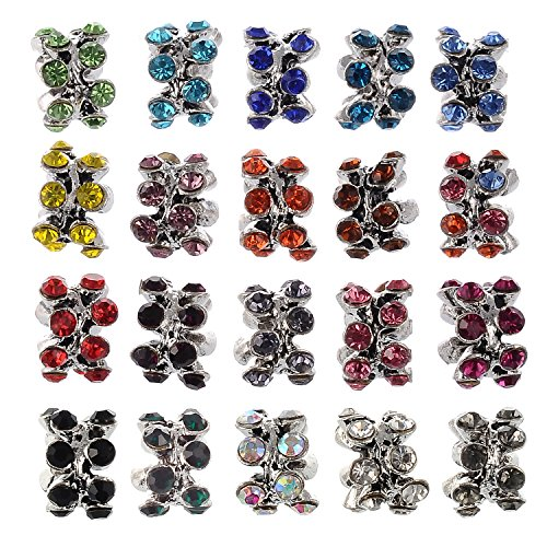 (RUBYCA 40Pcs Silver Color Tibetan Charm Beads Crystals Rhinestones fit European Charm Bracelet Mix Color)