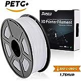 SUNLU PETG 3Dフィラメント1.75mm 1KG(2.2lb)、PETG 3Dプリンタフィラメント、寸法精度+/- 0.02mm、1kgスプール、1.75mm、白色PETG