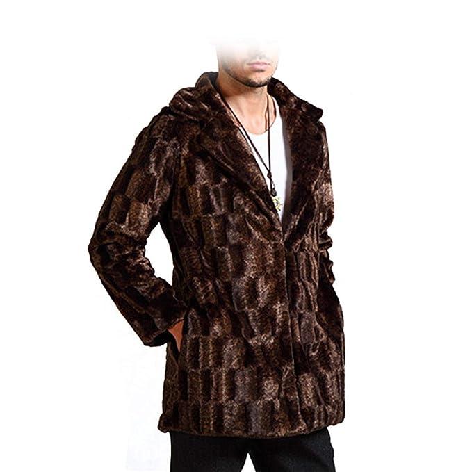 Betrothales Chaqueta Piel Suelta Sintética Invierno Chaquetas Abrigo Piel Piel Sintética Hombres Moda Outwear con Cuello Pie Solapa Piel: Amazon.es: Ropa y ...