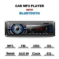 Lslya récepteur audio stéréo de voiture radio FM Lecteur MP3avec Bluetooth USB/SD/AUX/MMC Single DIN Intégré au Tableau de bord avec télécommande