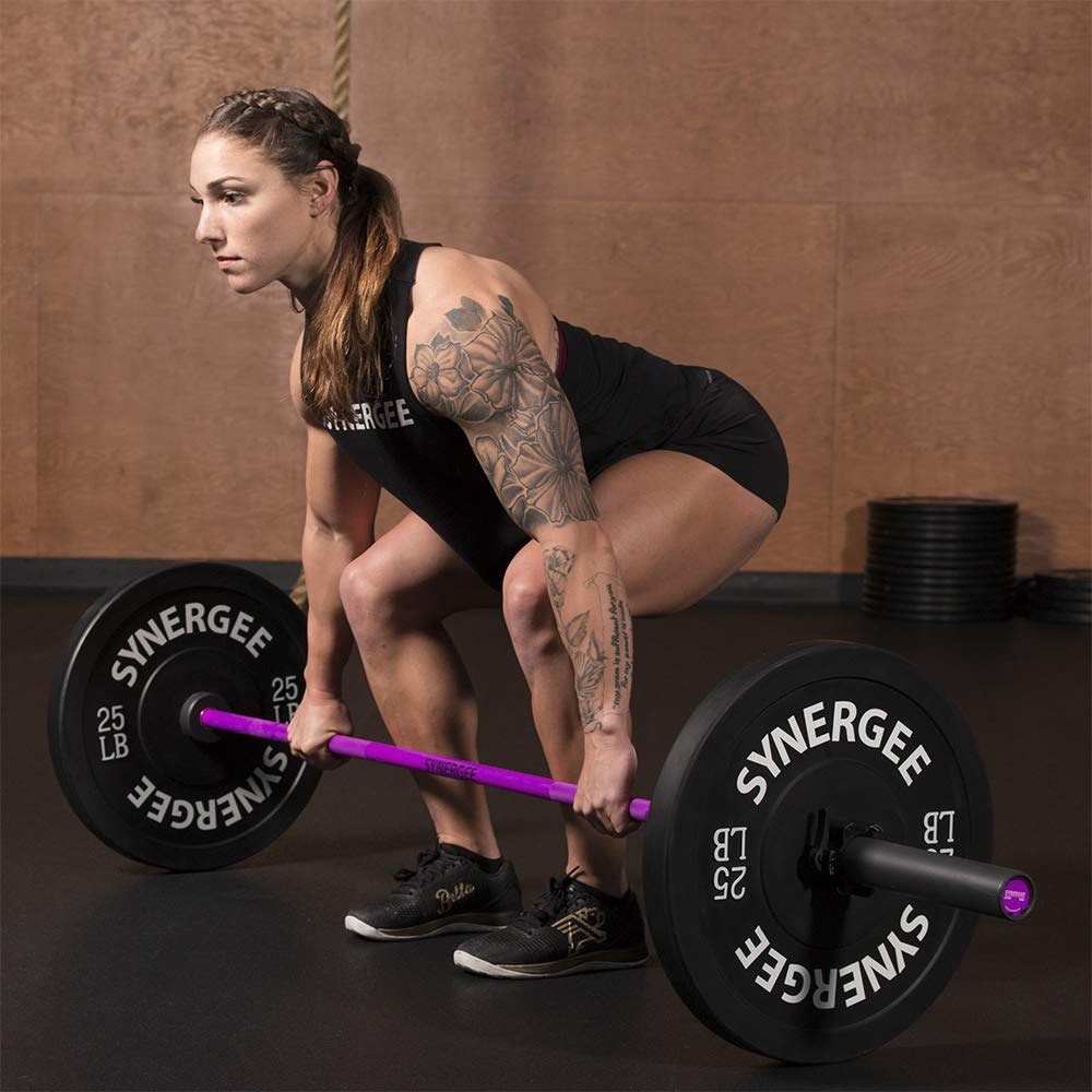 Synergee Games 15kg Colored Women's Pink Cerakote Barbell. Rated 1500lbs for Weightlifting, Powerlifting and Crossfit by Synergee (Image #7)