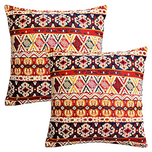 (Soffta Bohemian Throw Pillow Covers Retro Jacquard 18 x 18 Inch Pack of 2 Textured Chenille Ethnic Boho Moroccan Decorative Throw Pillows Stripe Red Beige)