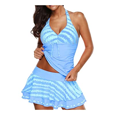 Dylanlla Tankini Swimsuits for Women Tummy Control,Tankini Sets with Boy Shorts Bikini Set Paisley Swimwear Dress Padded Bra: Clothing