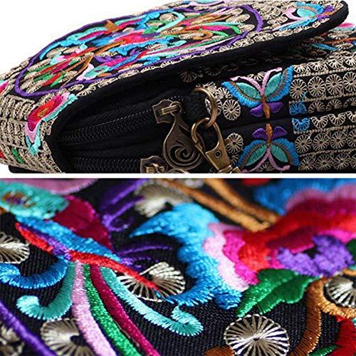 À National Rétro Wind Multicolore Sac Brodé Yuepin Téléphone Bandoulière Portefeuille Pochette Mini AxqZw6wz7