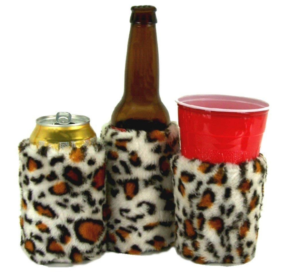 Cup Faux Fur Beverage Insulator EcoFriendly PocketHuggie Solo Cup Beer Coffee Sleeve Can Bottle