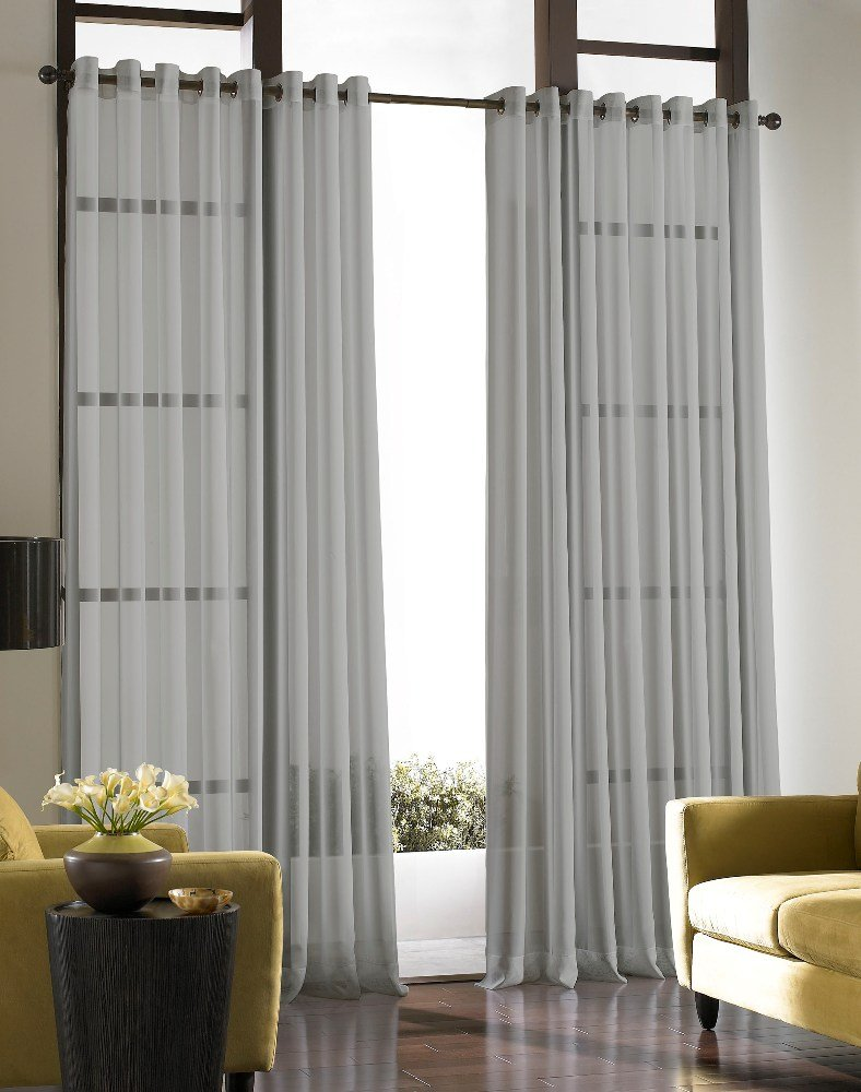 Curtainworks Soho Voile Sheer Grommet Panel, 59 by 63, Winter White 59 by 63 CHF Industries 1Q804306WI