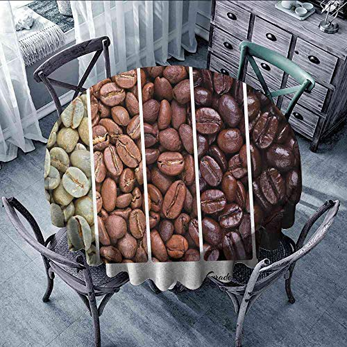 LsWOW Tablecloth Coffee,Vertical Banner Stages of Beans from Raw to Roasted Java Processing Addictive,Ivory Brown White Tablecloth Clips Round Table Size:D55