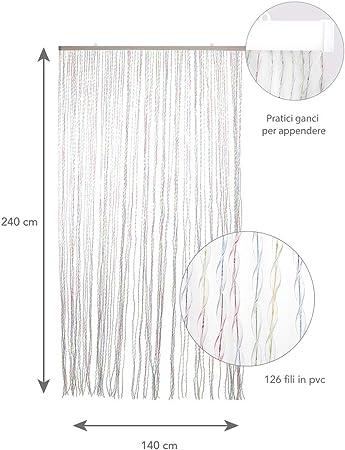 Dimensioni 125X230 cm Tenda con Fili ad elica in PVC Colori Multipli VERDELOOK Storm