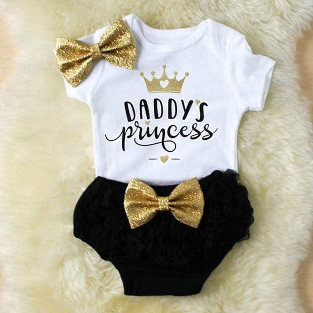 Camisa Manga Corto Bowknot ni/ños ni/ñas Bebes Verano cumplea/ños Conjuntos Body de Carta Tops y Pantalones Cortos para beb/é ni/ñas