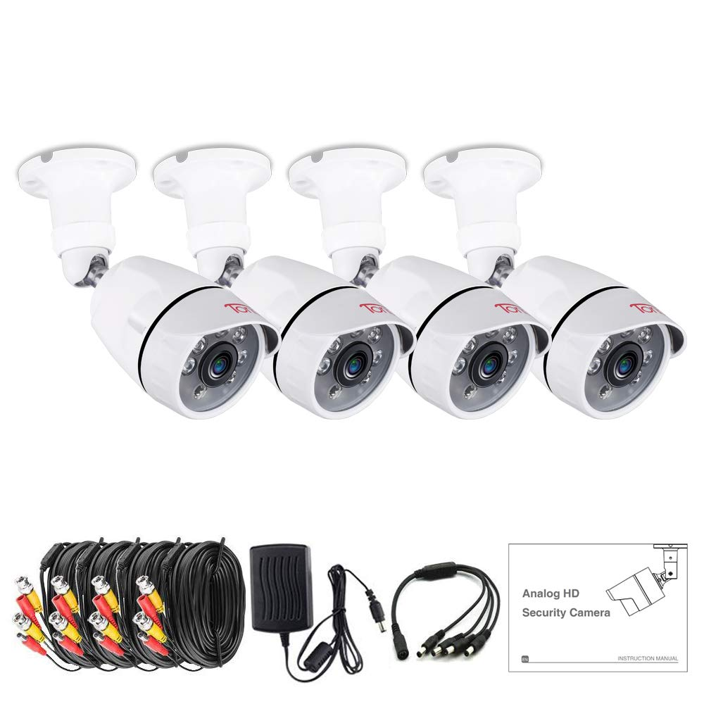 Tonton 4 Pack 1080p Outdoor Indoor Day Night Vision Weatherproof 6pcs IR Infrared LEDs Security Cameras Kits, 120ft IR Distance, Aluminum Metal Housing by Tonton