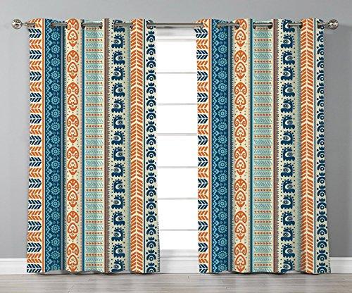 iPrint Stylish Window Curtains,Tibal,Aztec Ancient Vintage Ethnic Pattern with Native American Folk Figures Artisan Art,Merigold Blue,2 Panel Set Window Drapes,for Living Room Bedroom Kitchen -