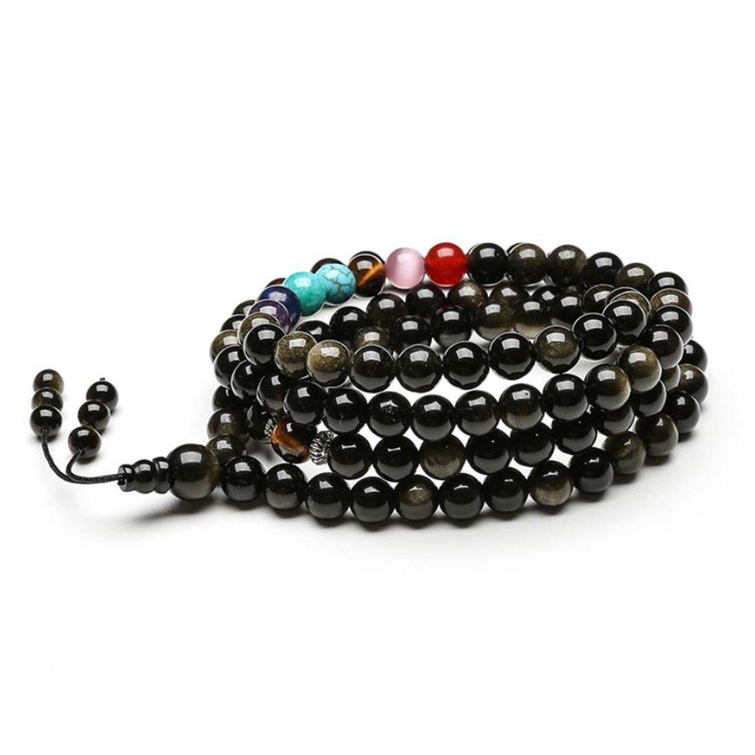 Efantina 6mm Natural 108 Mala Beads Matte Onyx 7 Chakra Bracelet Necklace for Men Women YiFan Jewelry
