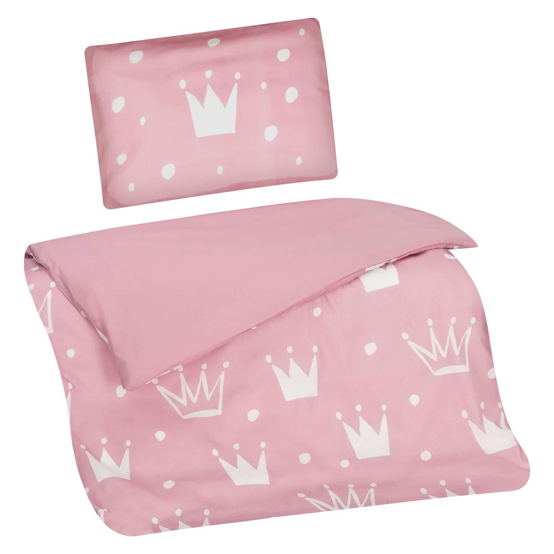 rosa Aminata Kids Baby-Bettw/äsche-Set 100-x-135-cm Krone Marken-Rei/ßverschluss /& /Öko-Tex sch/öne Farben weiches Material wei/ß M/ädchen Kinder-Kronen-Bettw/äsche aus Baumwolle