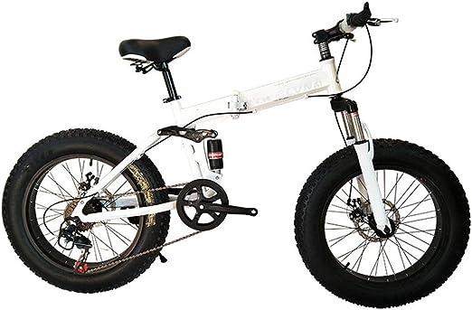 Dapang Bicicleta de montaña, Bicicleta Plegable de 26 Pulgadas con Marco de Acero súper Ligero, Bicicleta Plegable de Doble suspensión y Shimano 27 Speed Gear,White,24Speed: Amazon.es: Hogar
