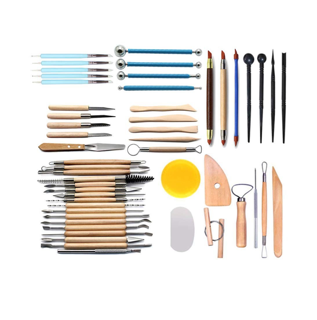 51PCS Polymer Modeling Clay Sculpting Tools, Dotting Pen, Silicone Tips, Ball Stylus, Pottery Ceramic Clay Indentation Tools Set Also for Cake Fondant Decoration and Nail Art (51PCS)