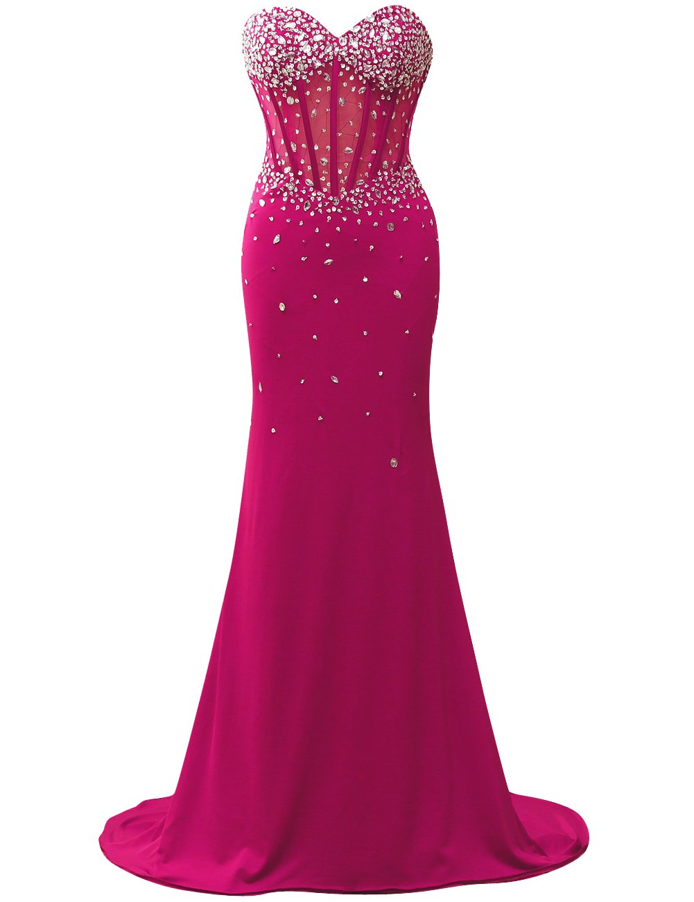 JAEDEN Sweetheart Corset Style Bodice Strapless Crystals Evening Gown Prom Dress Hot Pink US16W