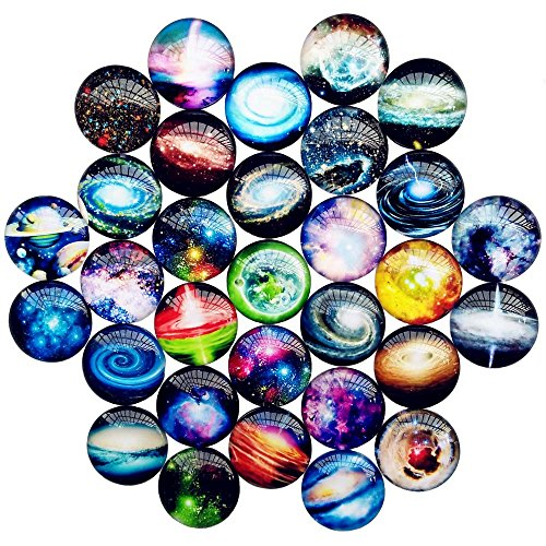 Qingxi Charm 20pcs 25mm Star Printed Glass Flatback Button Glass Gemstone Cabochons DIY Phonecover Scrapbook Jewelry Necklace Making Charms (Star,25mm,20pcs)