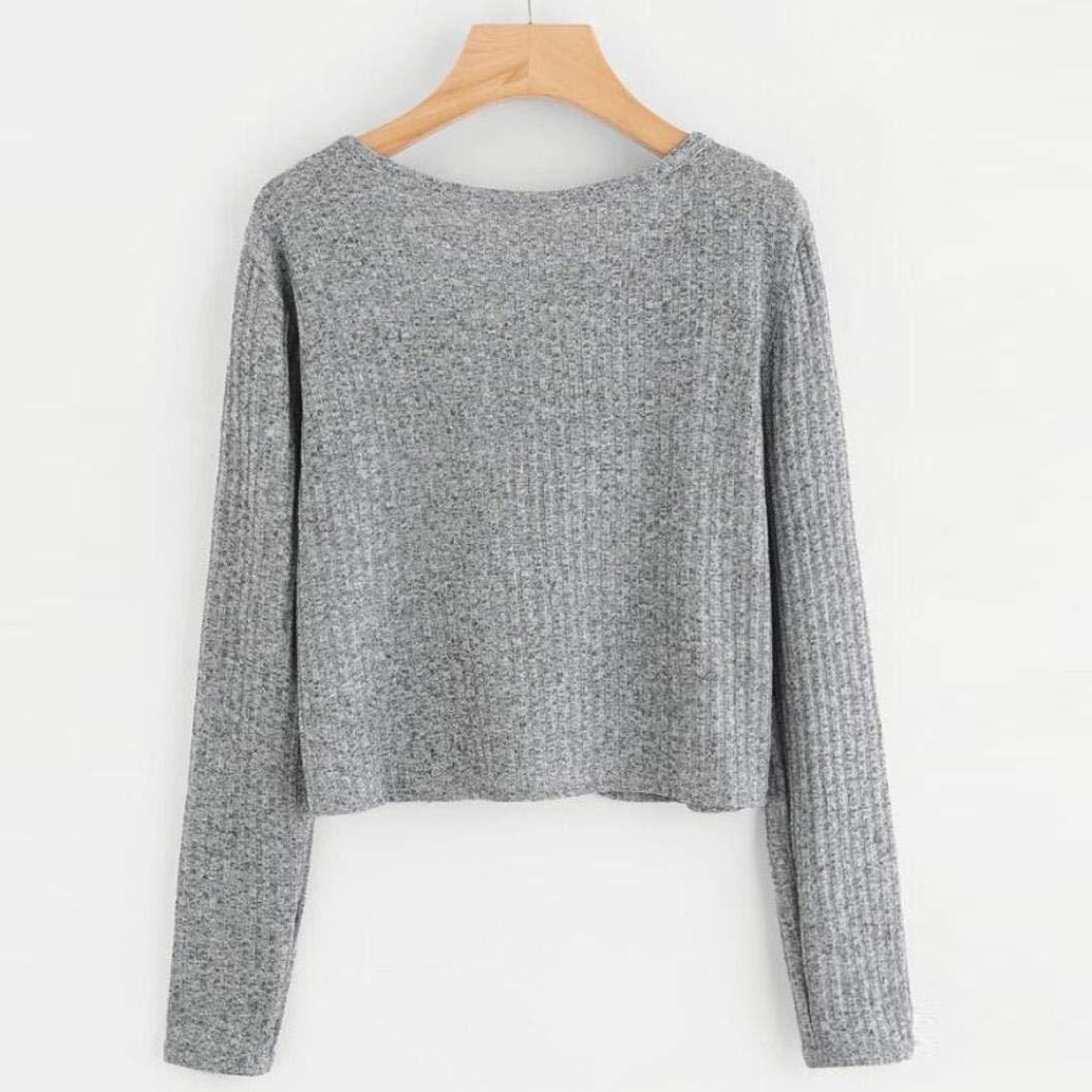 ABCone-Donna Pullover Felpa O Tasca del Collo T-Shirt Autunno Maniche Lunghe Elegante Autunno T-Shirt Camicette Camicie Casual Tops Grigio 908843