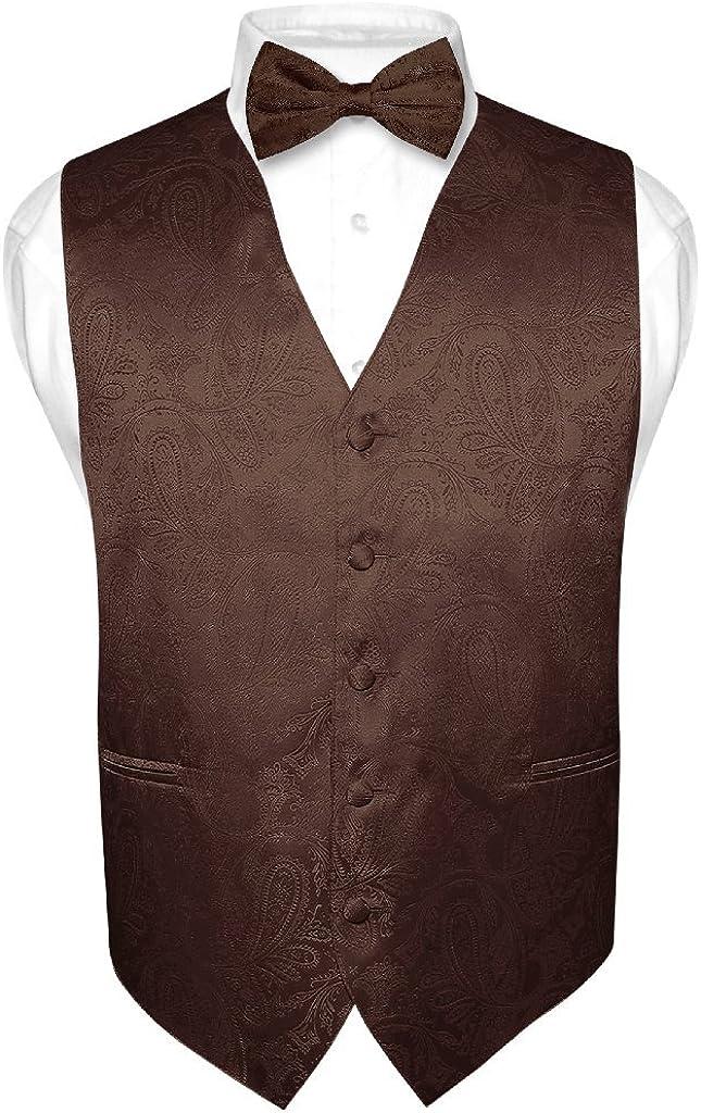 Men's Paisley Design Dress Vest & Bow Tie Brown Color Bowtie Set for Suit or Tux