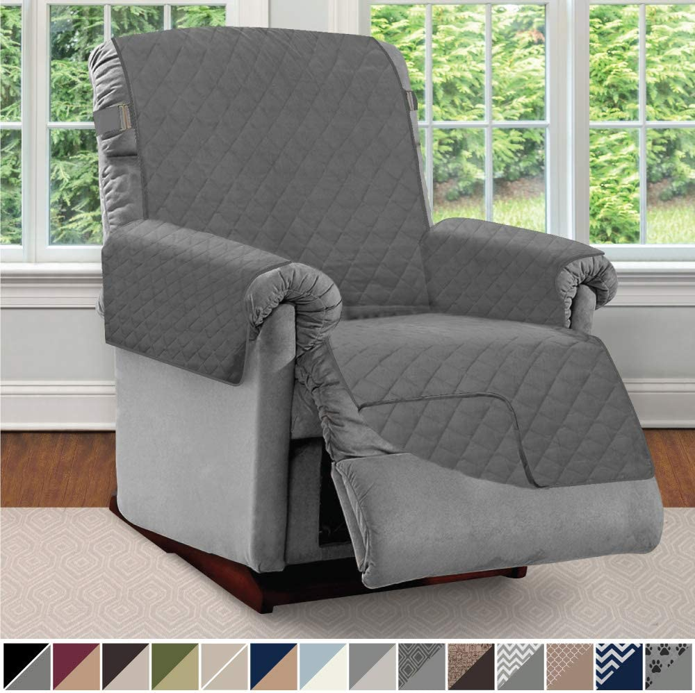 Sofa Shield Original Patent Pending Reversible Large Recliner Protector, Seat Width to 28 Inch, Furniture Slipcover, 2 Inch Strap, Reclining Chair Slip Cover Throw for Pets, Recliner, Charcoal