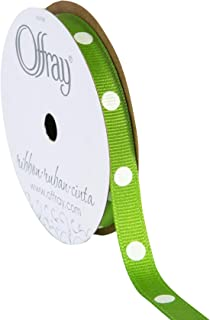 "product image for Offray 685547 3/8"" Wide Dippy Dots Craft Ribbon, 3 Yards, Apple Green and White Polka Dot Pattern"