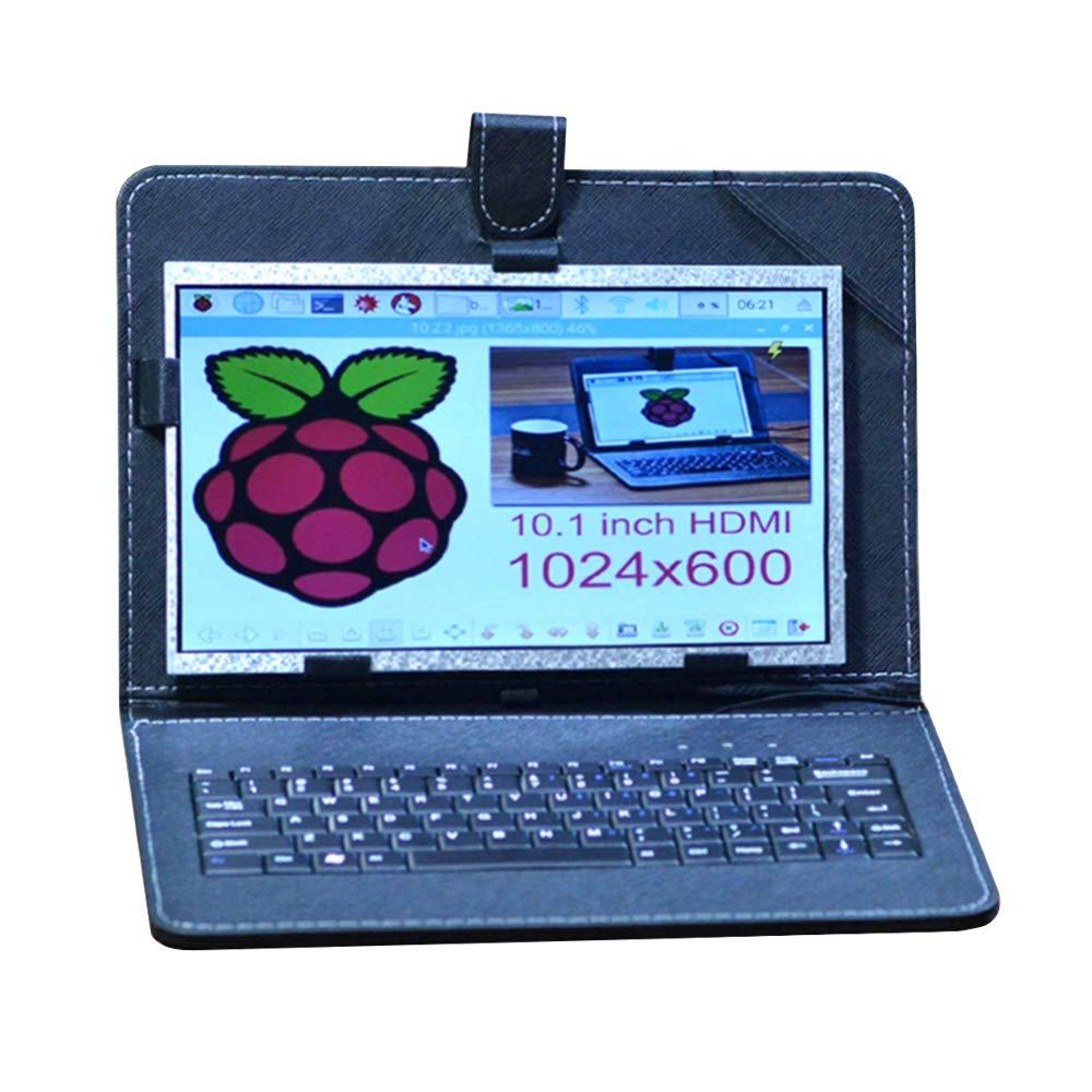 Allpartz 10.1 inch HDMI Display Screen High Resolution LCD Screen for Raspberry Pi 3B+/3B/2B+/2B USB Leather Case Keyboard