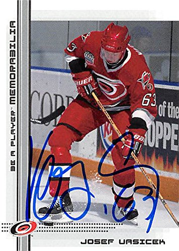 Josef Vasicek autographed hockey card (Carolina Hurricanes, FT) 2000 Be A Player #429 Rookie by Autograph Warehouse