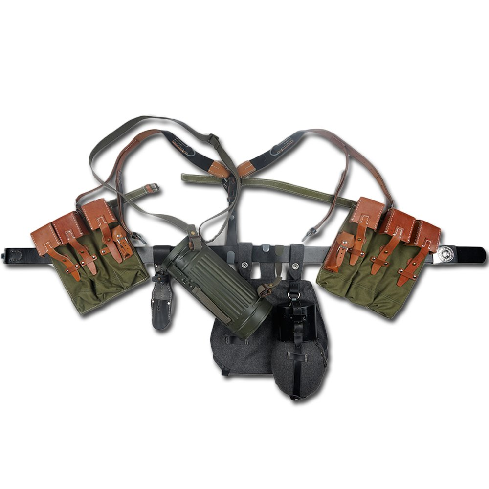zwjpw German mp44キャンバスポーチ機器組み合わせSoliderベルトとYストラップ B07FMS41P3