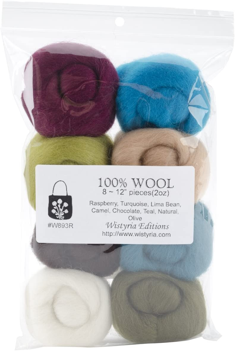 12-Inch 8-Pack WISTYRIA EDITIONS 0.25-Ounce Wool Roving Bold