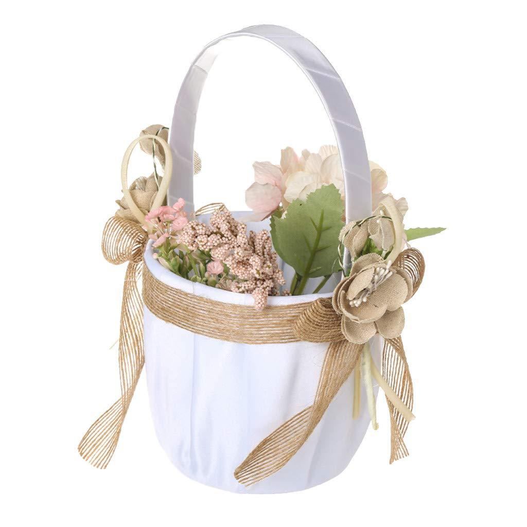 Weiliru Roses Ribbon Flower Girl Basket for Wedding Ceremony Party Favors,Wedding Ceremony Party Rose Flower Girl Basket