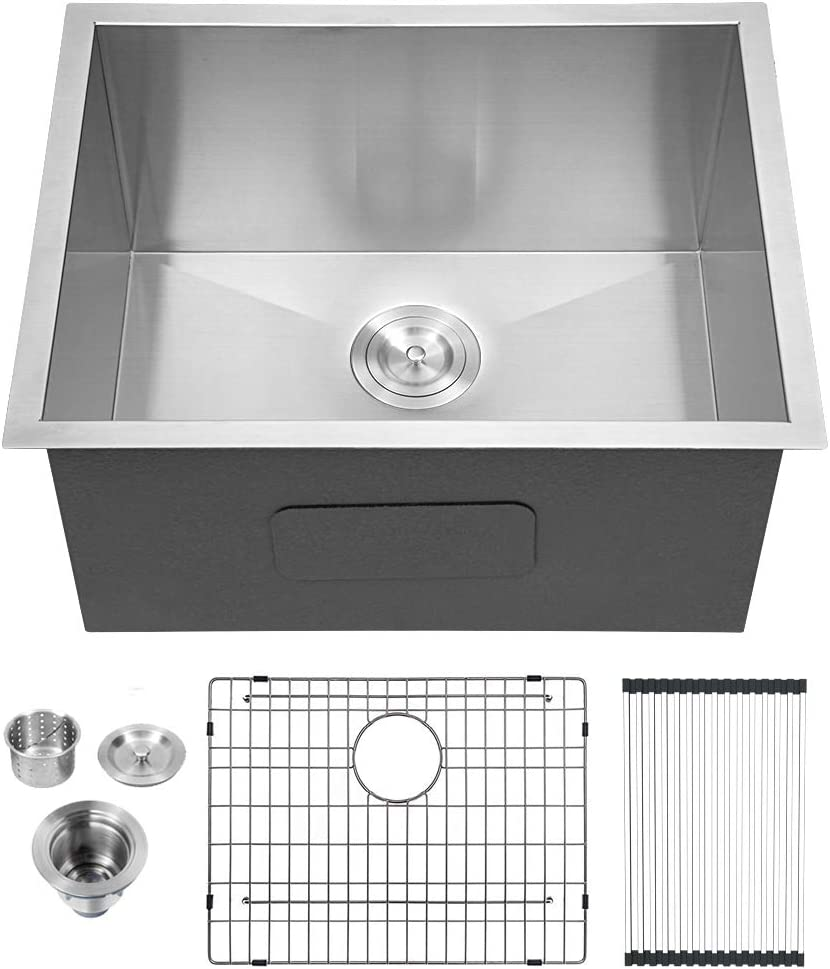 "Lordear 21"" x 18"" x 12"" Undermount Laundry Utility Sink Single Bowl Sink 16 Gauge Stainless Steel Deep Laundry Room Sinks"