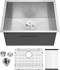 "Lordear 23"" x 18"" x 12"" Deep Laundry Utility Sink Undermount Single Bowl 16 Gauge Stainless Steel Laundry Room Sink Basin"