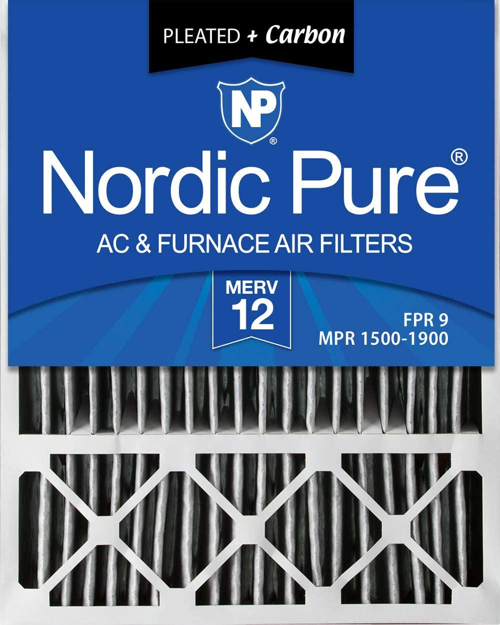 Nordic Pure 20x24x1 MPR 1085 Pleated Micro Allergen Extra Reduction Replacement AC Furnace Air Filters 2 Pack