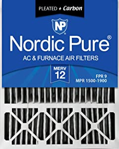 Nordic Pure 20x25x5 (4-3/8 Actual Depth) Plus Lennox X6673 Replacement AC Furnace Air Filter, 2 PACK, MERV 12 Pleated + Carbon, 2 Piece