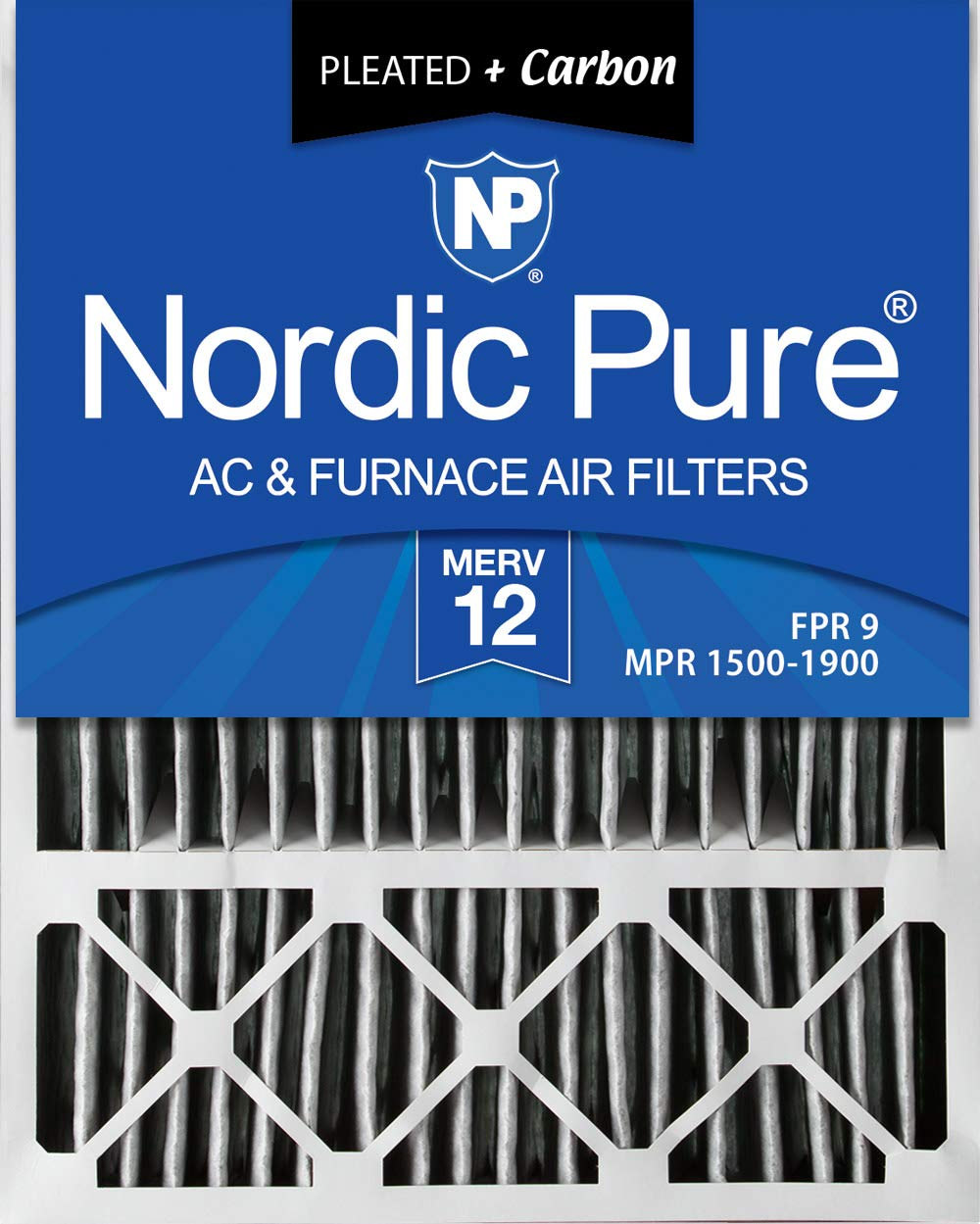 Nordic Pure 20x25x5 (4-3/8 Actual Depth) MERV 12 Pleated Plus Carbon Lennox X6673 Replacement AC Furnace Air Filter, 1 PACK