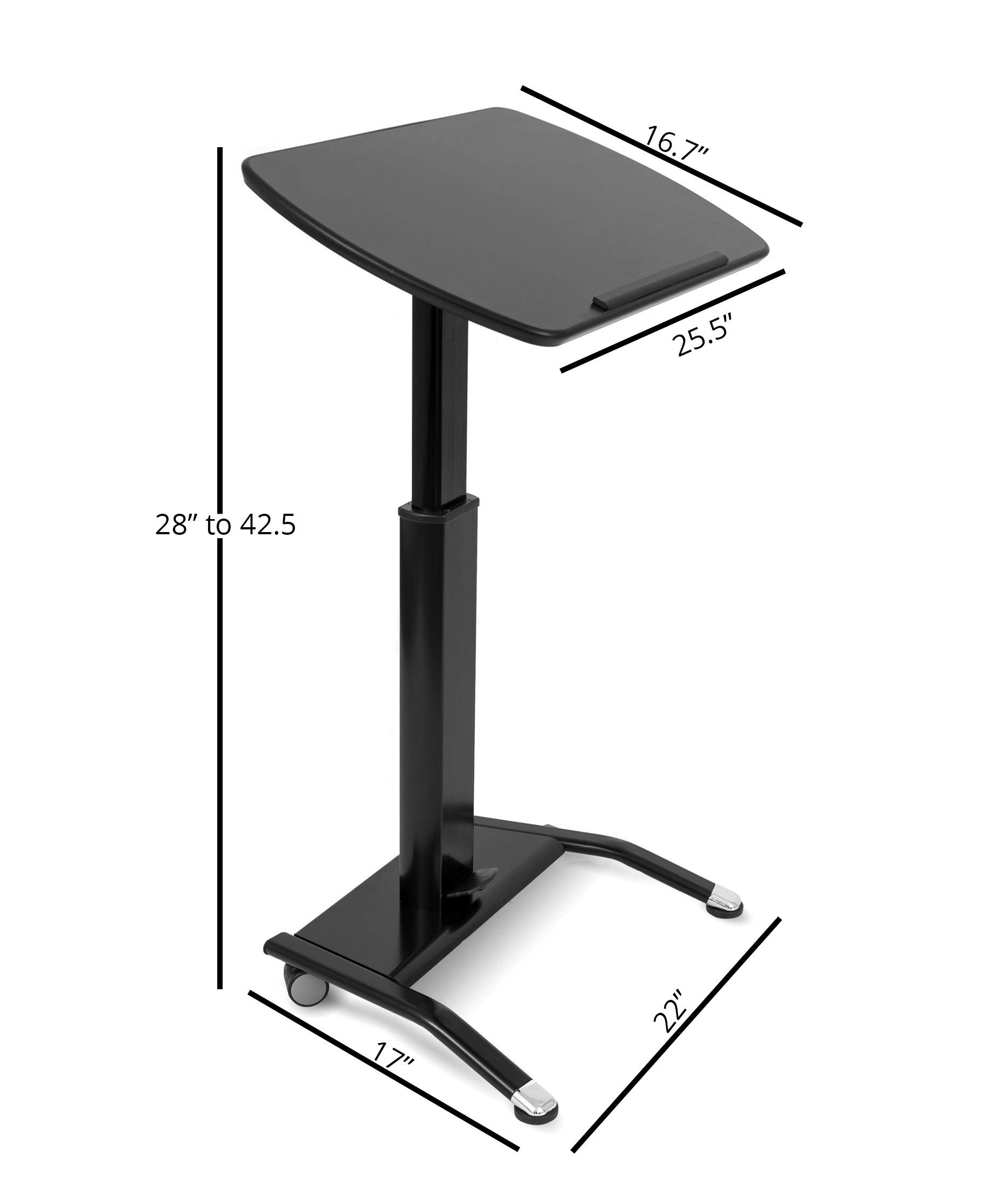 Pneumatic Adjustable-Height Lectern (Black) by Stand Up Desk Store (Image #7)