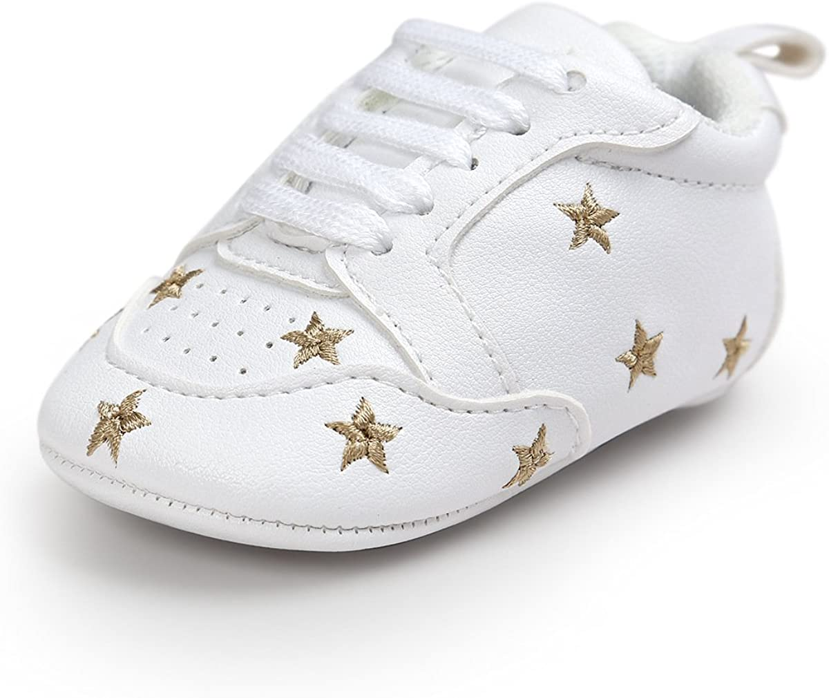 Infant Baby Girls Boys Sneaker Soft Soles Non Slip PU Leather Outdoor Lace up Toddler First Walkers Crib Shoes