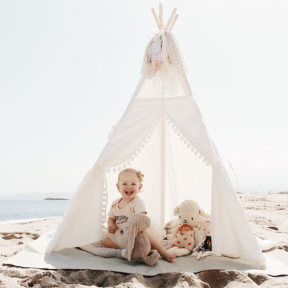 little dove Kids Teepee Tent 6' Children Indian Play Tent Lace and Pompom Ball Design with Led String Light Feathers Decoration Pre-Package