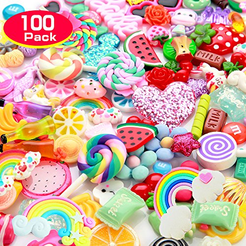 Slime Charms Cute Set- 100pcs Charms for Slime Assorted Fruits Candy Sweets Flatback Resin Cabochons for Craft Making, Ornament Scrapbooking DIY Crafts by ANPHNIE