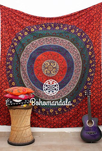 Plum  Orange Gypsy Wildflower Earth Mandala Hippie Indian Tapestry Bohemian Beach Throw Wall Art